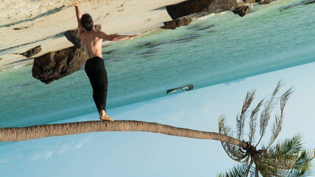 Hosn Secret Agent Suit Trousers beach balance aerial palm tree sea water