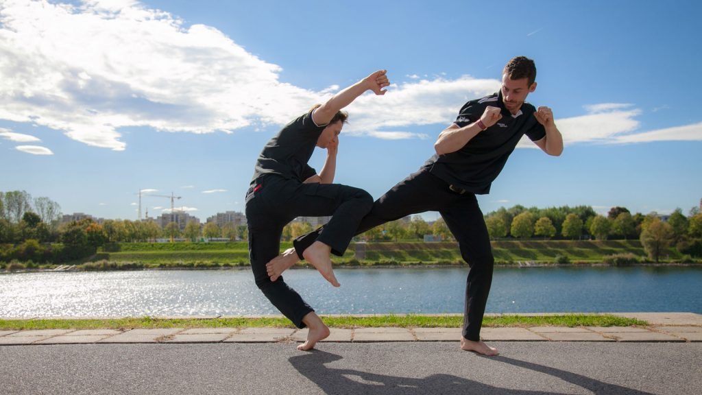 Hosn Secret Agent Suit Trousers stunt pants fighting donau river knee kick yoko geri